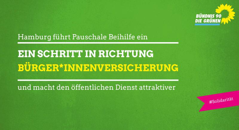 Text: Hamburg führt Pauschale Beihilfe ein und macht den öffentlichen Dienst attraktiver. Ein Schritt in Richtung Bürger*innenversicherung