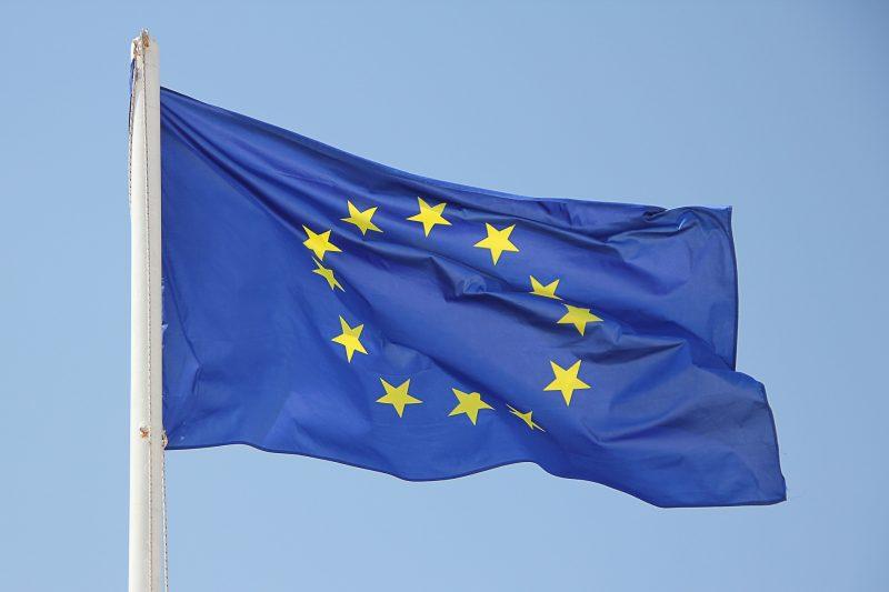 Die Fahne der europäischen Union: Zwölf gelbe Sterne auf blauem Hintergrund