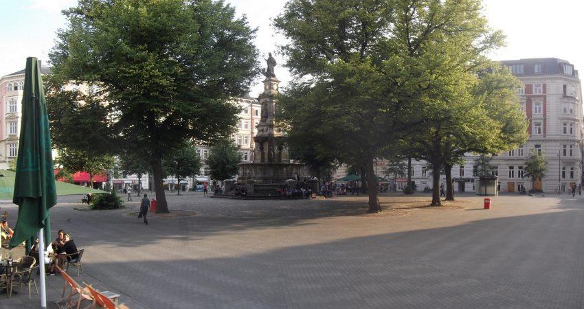 Eine Ansicht des Hansaplatzes in Hamburg-St. Georg