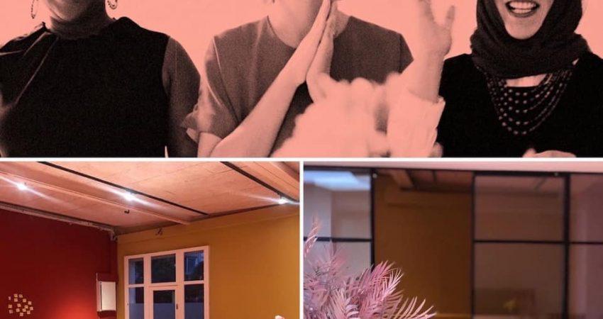 Bildcollage. 1) Onejiru Arfmann, Jessica Louis, Kübra Gümusay 2) Veranstaltungsraum im Eeden 3) Foyer